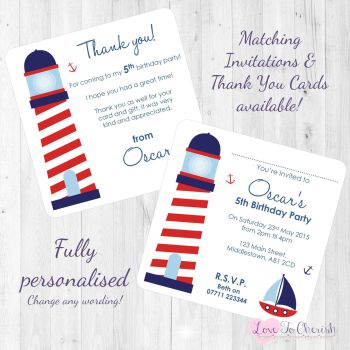 Lighthouse Nautical Themed Party Invitations & Thank You Cards