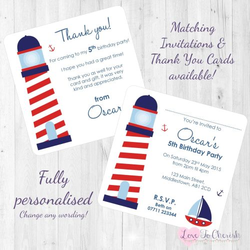 Lighthouse Nautical Themed Invites