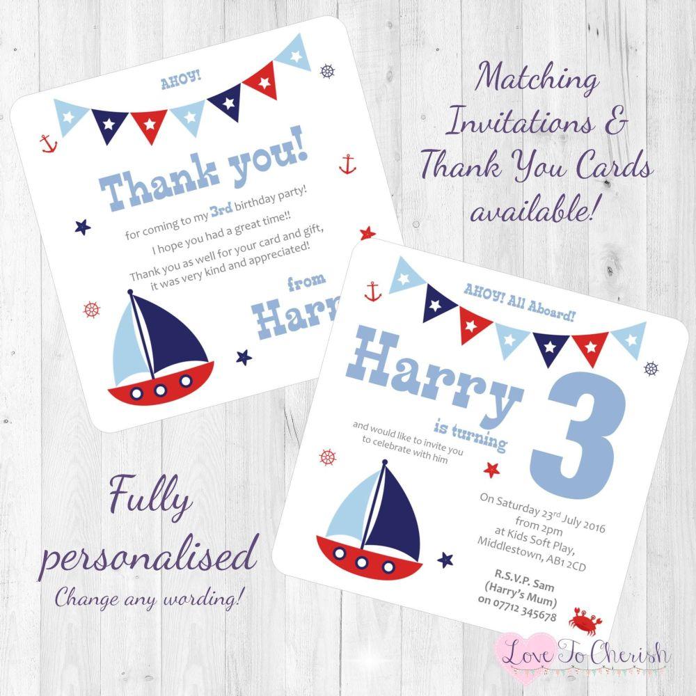 Sail Boat / Yacht Nautical Themed Invites
