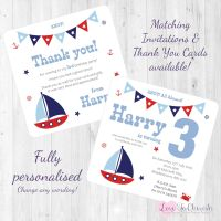 Sail Boat / Yacht Nautical Themed Party Invitations & Thank You Cards