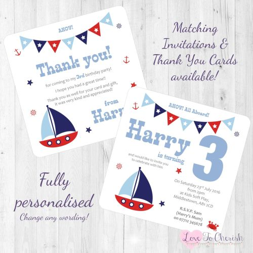 Sail Boat / Yacht Nautical Themed Invites