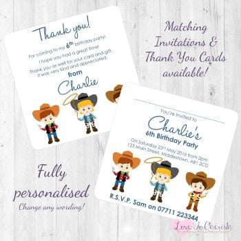Cowboy Friends Party Invitations & Thank You Cards