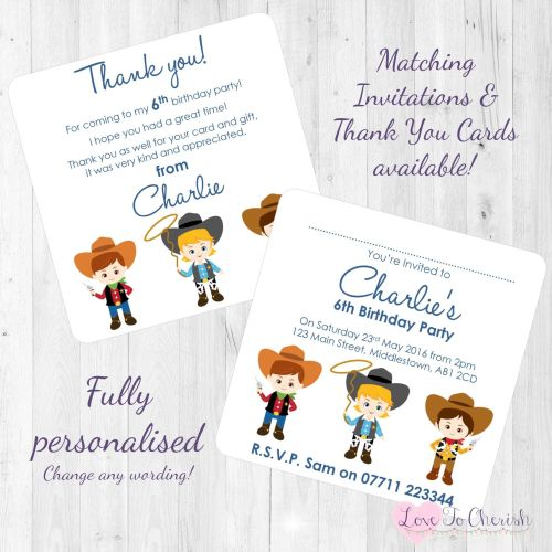 Cowboy Friends Party Invitations Thank You Cards
