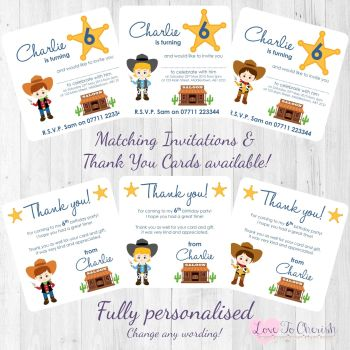 Cowboy Sheriff Party Invitations & Thank You Cards