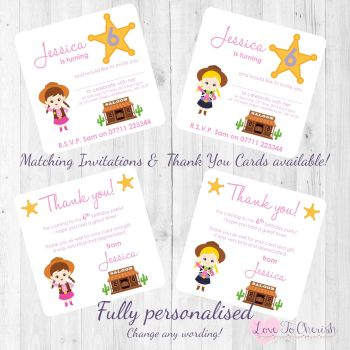 Cowgirl Sheriff Party Invitations & Thank You Cards