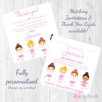 Ballerina Friends Party Invitations & Thank You Cards