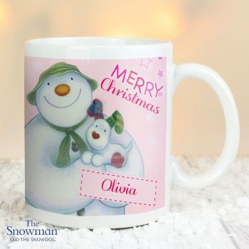 The Snowman and The Snowdog Pink Christmas Mug