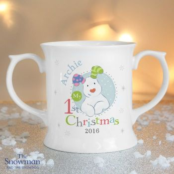 The Snowman and The Snowdog My 1st Christmas Blue Loving Mug