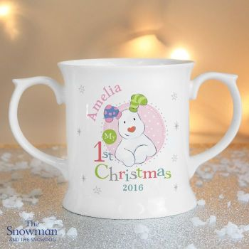 The Snowman and The Snowdog My 1st Christmas Pink Loving Mug