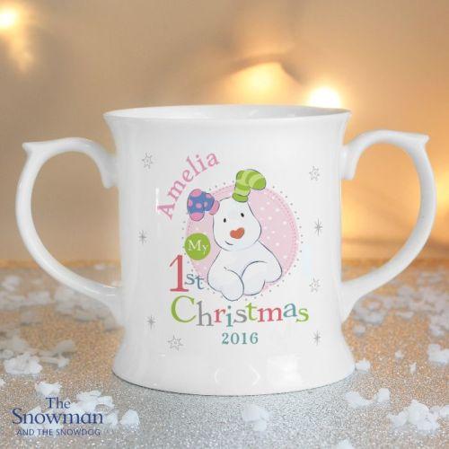The Snowman and The Snowdog My 1st Christmas Pink Loving Mug