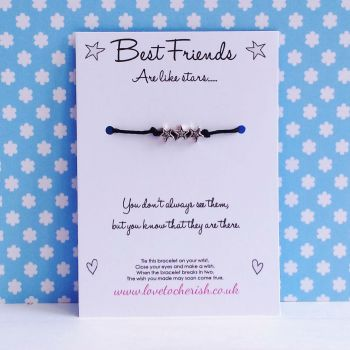 Best Friends Are Like Stars - 3 Star Bracelet - Wish/Friendship Bracelet