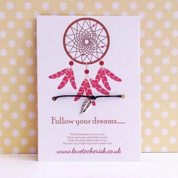 Follow Your Dreams Dreamcatcher Wish/Friendship Bracelet