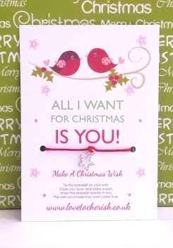 All I Want For Christmas Is You! Christmas Love Birds Wish Bracelet
