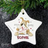 Boofle My 1st Christmas Personalised Ceramic Star Decoration
