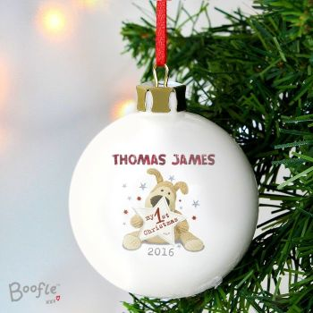 Boofle 'My 1st Christmas' Personalised Ceramic Bauble Decoration