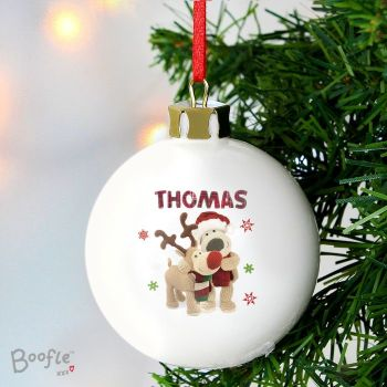 Boofle Christmas Reindeer Personalised Ceramic Bauble Decoration
