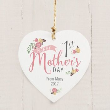 Floral Bouquet 1st Mother's Day Wooden Heart Decoration
