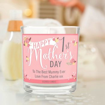 Floral Bouquet 1st Mother's Day Scented Jar Candle