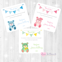 Cute Teddy Bear Thank You Cards - Baby Shower Design