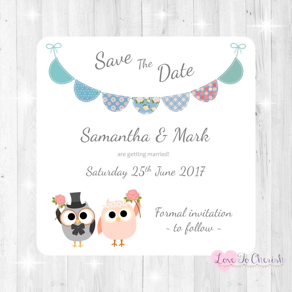 Bride & Groom Cute Owls & Bunting Green/Blue Wedding Save The Date Cards