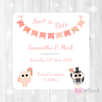 Bride & Groom Cute Owls & Bunting Peach Wedding Save The Date Cards