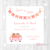 Bride & Groom Cute Owls in Car Peach Wedding Save The Date Cards