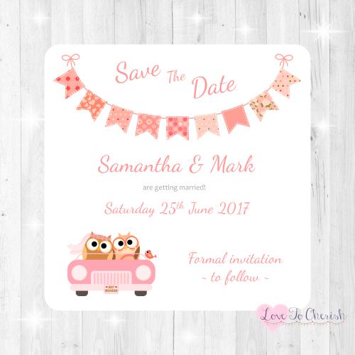 Bride & Groom Cute Owls in Car Peach Wedding Save The Date Cards