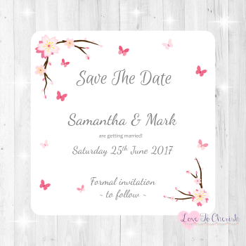Cherry Blossom & Butterflies Wedding Save The Date Cards