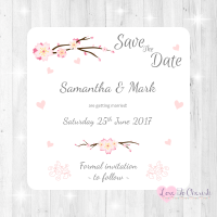 Cherry Blossom & Pink Hearts Wedding Save The Date Cards