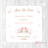 Shabby Chic Hanging Hearts & Love Birds Wedding Save The Date Cards