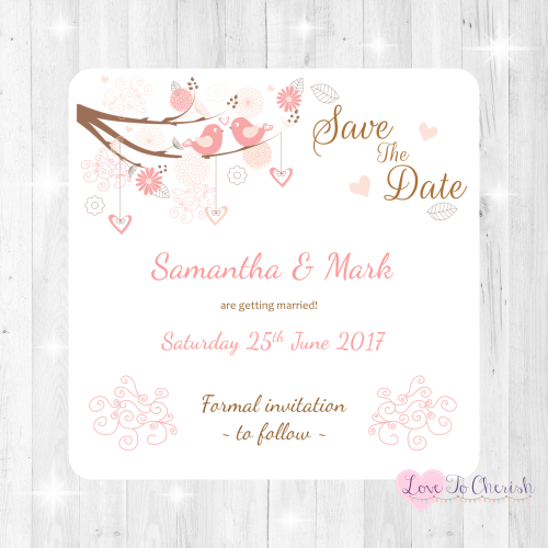 Shabby Chic Hearts & Love Birds in Tree Wedding Save The Date Cards