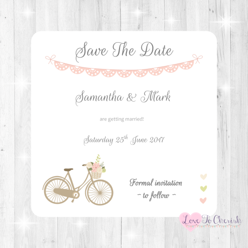 Vintage Bike/Bicycle Shabby Chic Pink Lace Bunting Wedding Save The Date Ca