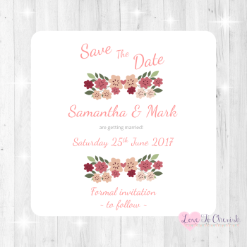 Vintage Floral/Shabby Chic Flowers Wedding Save The Date Cards