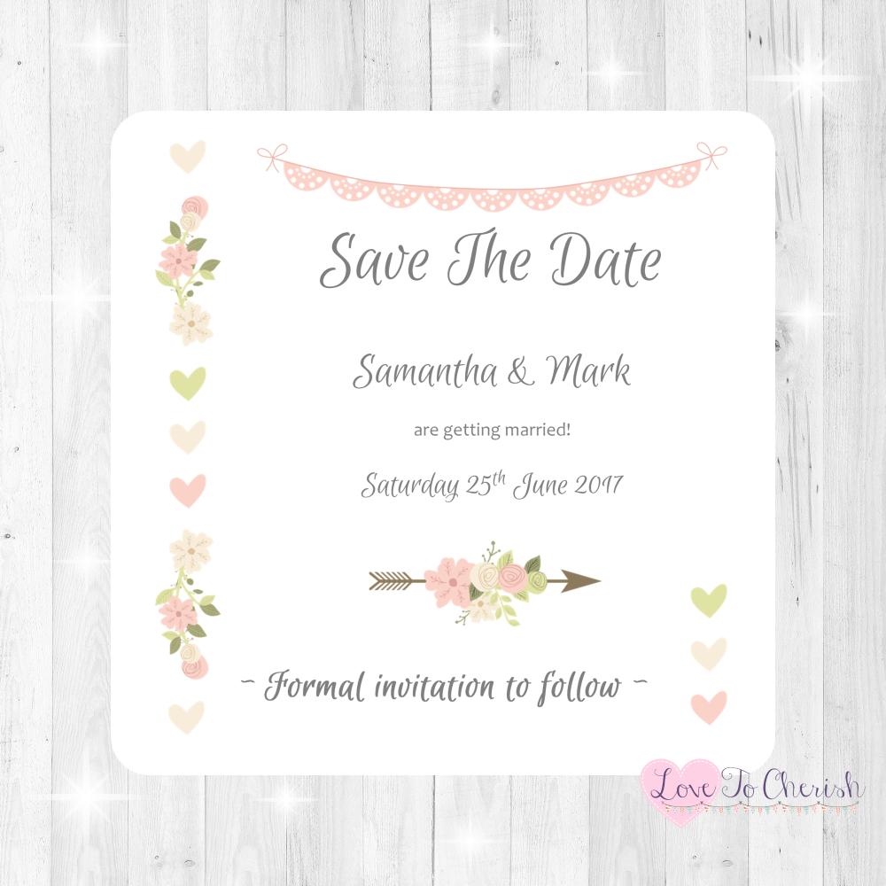 Vintage Flowers & Hearts Wedding Invitations