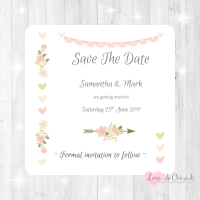 Vintage Flowers & Hearts Wedding Save The Date Cards