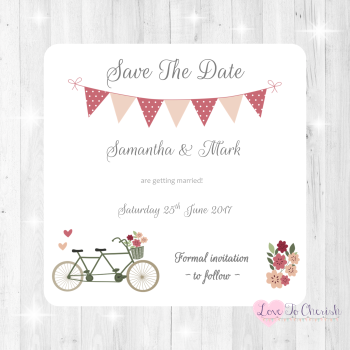Vintage Tandem Bike/Bicycle Shabby Chic Wedding Save The Date Cards