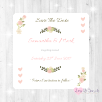 Vintage/Shabby Chic Flowers & Pink Hearts Wedding Save The Date Cards