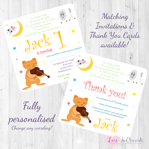 Hey Diddle Diddle Nursery Rhyme Invites & Thank You Cards