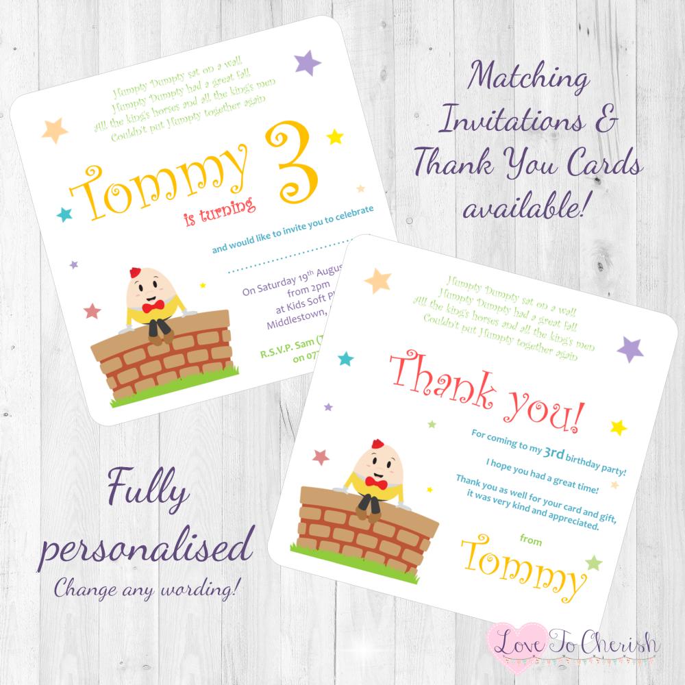 Humpty Dumpty Nursery Rhyme Invites & Thank You Cards