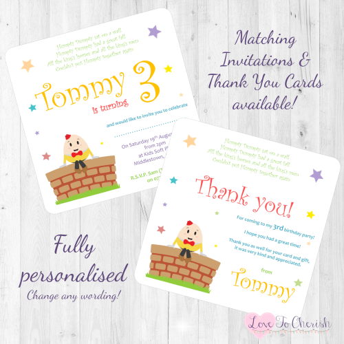 Humpty Dumpty Nursery Rhyme Invites & Thank You Cards