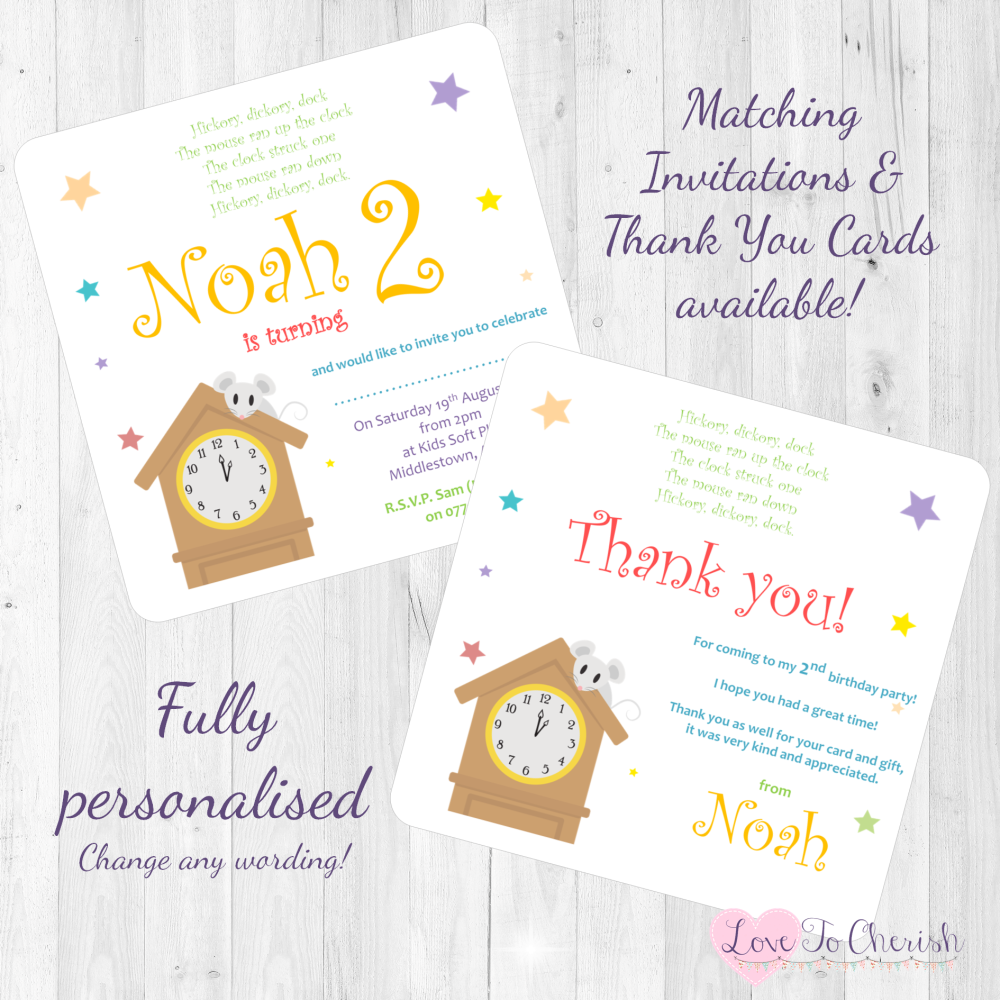 Hickory Dickory Dock Nursery Rhyme Invitations Thank You Cards