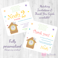 <!-- 002 -->Hickory Dickory Dock Nursery Rhyme Invites &amp; Thank You Cards