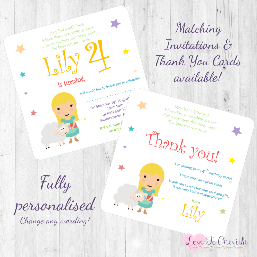 Mary Had A Little Lamb Nursery Rhyme Invites & Thank You Cards