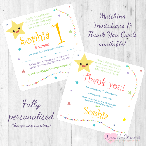 Twinkle Twinkle Little Star Nursery Rhyme Invites & Thank You Cards