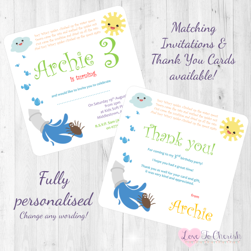 Incy Wincy Spider Nursery Rhyme Invites & Thank You Cards