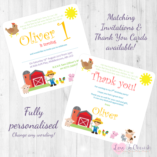 Old MacDonald Nursery Rhyme Invites Thank You Cards