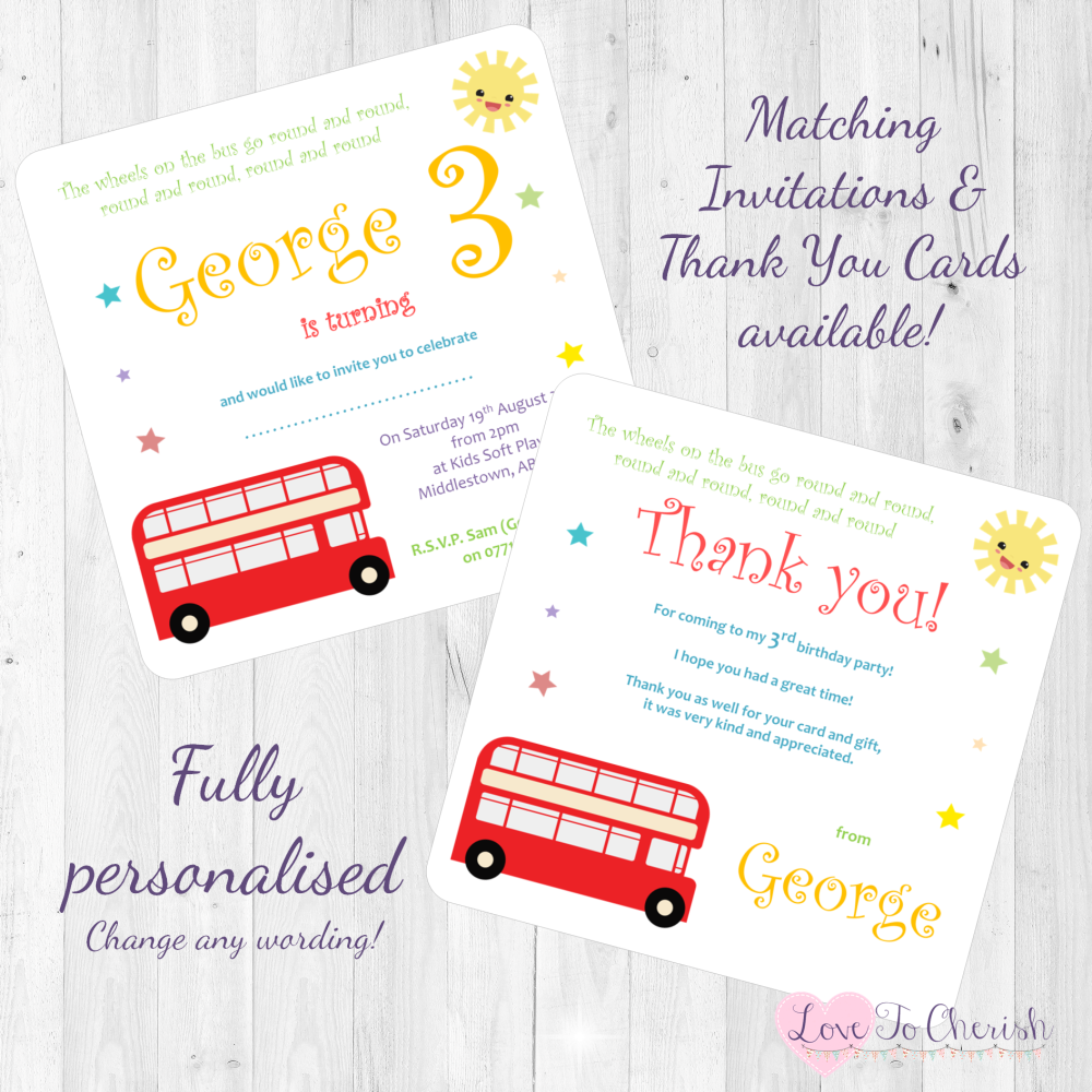 The Wheels On The Bus Nursery Rhyme Invites & Thank You Cards