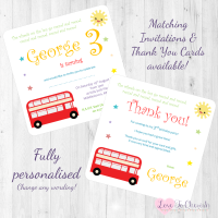 <!-- 007 -->The Wheels On The Bus Nursery Rhyme Invitations & Thank You Cards