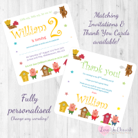<!-- 009 -->Three Little Pigs Fairytale Invites &amp; Thank You Cards