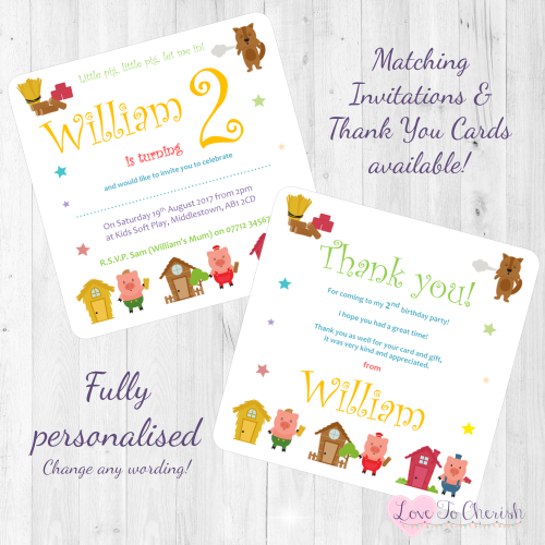 <!-- 009 -->Three Little Pigs Fairytale Invites & Thank You Cards